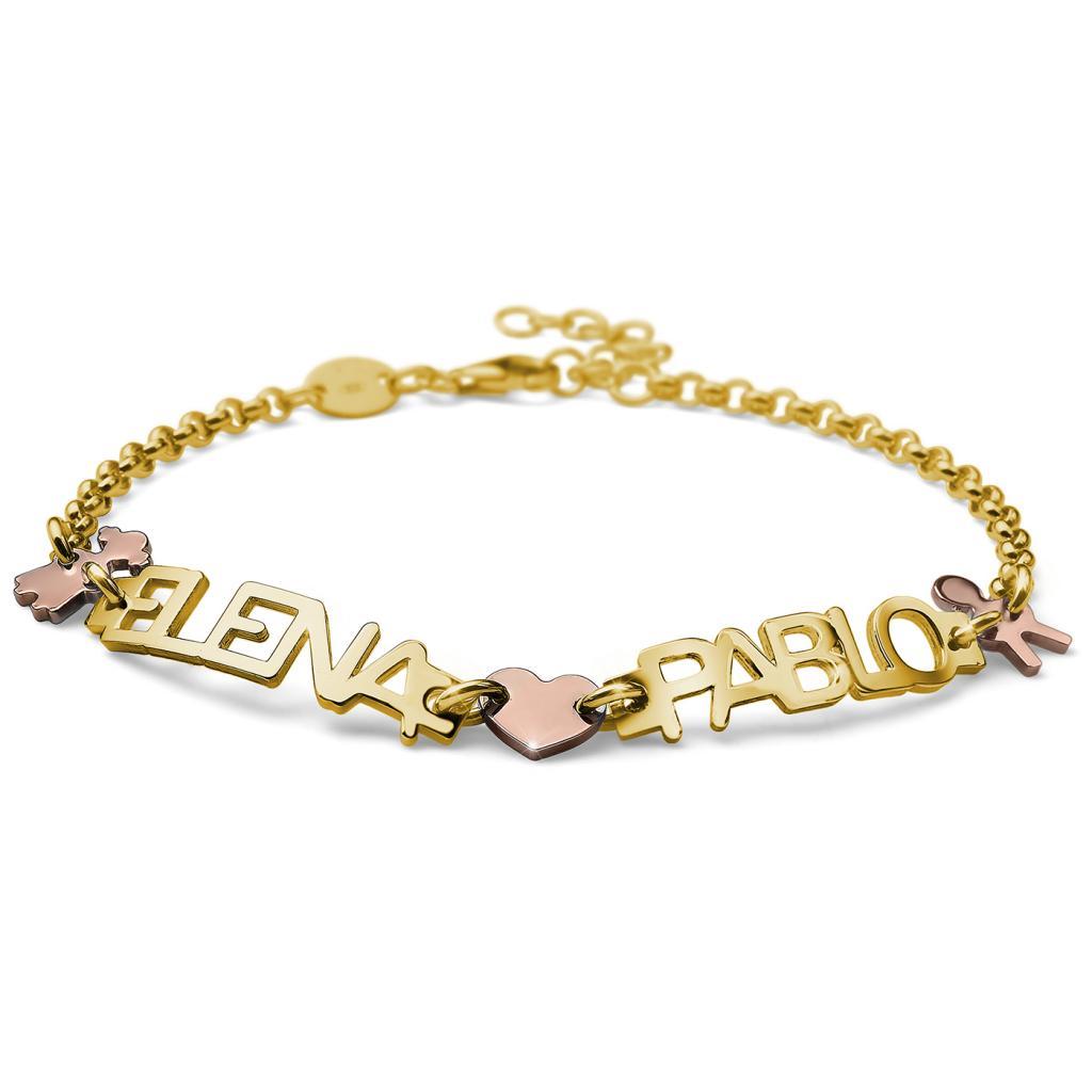 e45420b197b6 Pulsera con 2 Nombres, Boy, Corazón y Girl, en Plata Chapada en Oro ...